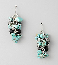 Laura Ashley® Black/Turquoise/Silvertone Cluster Earrings