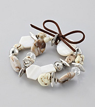 Laura Ashely® Neutral/Silvertone Two Row Stretch Bracelet