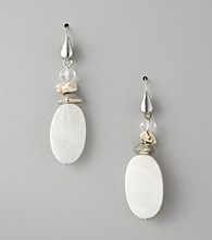 Laura Ashley® Neutral/Silvertone Drop Earrings