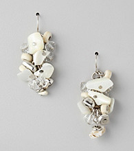 Laura Ashley® Neutral/Silvertone Cluster Earrings