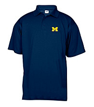J. America® Men's Navy University of Michigan Solid Mesh Performance Polo