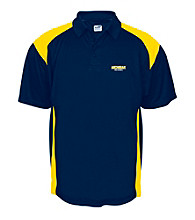J. America® Men's Navy University of Michigan Mesh with Interlock Panel Performance Polo