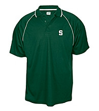 J. America® Men's Forest Green Michigan State University Mesh Performance Polo