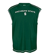 J.. America® Men's Forest Green Michigan State Sleeveless Mesh Performance Tee