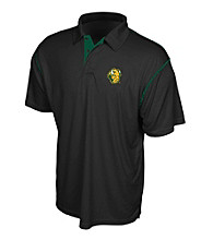 J. America® Men's Black North Dakota State University Contrast Stitch Performance Polo