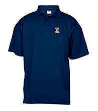 J. America® Men's Navy University of Illinois Solid Mesh Performance Polo