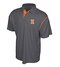 J. America® Men's Graphite University of Illinois Contrast Stitch Performance Polo