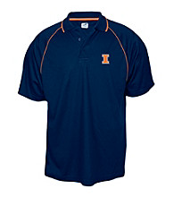 J. America® Men's Navy University of Illinois Contrast Mesh Performance Polo