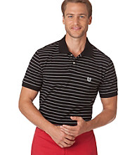 Chaps® Men's Black Short Sleeve Waverly Custom Fit Stripe Polo