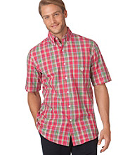 Chaps® Men's Bright Flamingo Sapelo Plaid Woven Shirt