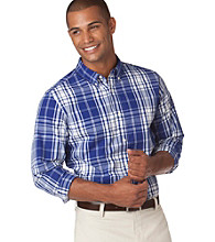 Chaps® Men's Dockside Blue Custom Fit Baypoint Plaid Woven Shirt