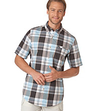 Chaps® Men's Aquatic Blue Explorer Beaufort Plaid Woven Shirt