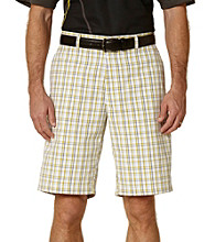 PGA TOUR® Men's Bright White Fitted Pop Plaid Flat Front Short