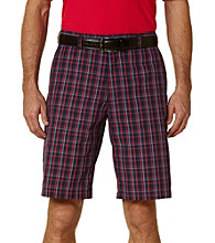 PGA TOUR® Men's True Navy Fitted Pop Plaid Flat Front Short