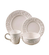American Ateliers Bianca Leaf Grey 16-pc. Dinnerware Set