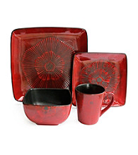 American Ateliers Laurette Red Square 16-pc. Dinnerware Set