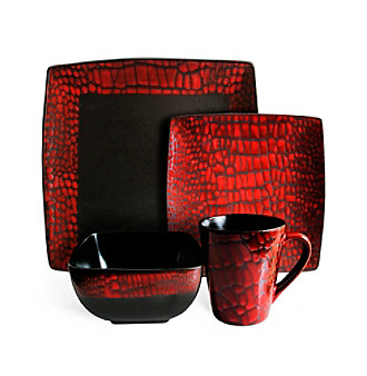 American Ateliers Boa Red 16-pc. Dinnerware Set