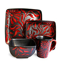 American Ateliers Daisey Red 16-pc. Dinnerware Set