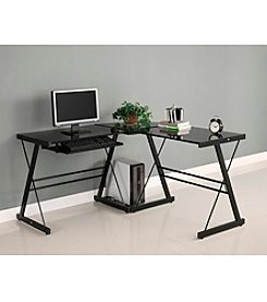 W.Designs Soreno L-Shaped Black Glass and Metal  Computer Desk