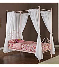 W.Designs Opal Metal Twin Canopy Bed with Curtains