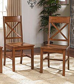 W.Designs Millwright Set of 2 Antique Brown Wood Dining Chairs