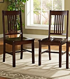 W.Designs Meridian Set of 2 Cappuccino Wood  Dining Chairs