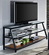 W.Designs Henderson Glass Metal TV Stand with Wood Accents