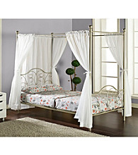 W.Designs Thomas Metal Full Pewter Canopy Bed with Curtains