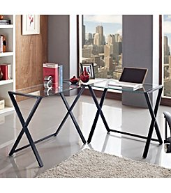 W.Designs Jasper X-Frame Glass and Metal Corner Computer Desk