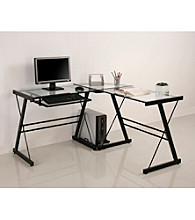 W.Designs Imperial L-Shaped Glass and Metal Computer Desk