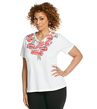 Breckenridge® Plus Size Screen Printed V-neck Tee