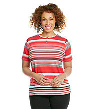 Breckenridge® Plus Size Printed Stripe Tee