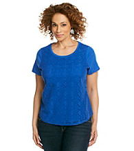 Studio Works® Plus Size Lace Front Knit Top