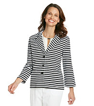 Alfred Dunner® Notch Collar Front Button Up Stripe Jacket