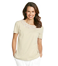 Alfred Dunner® Animal Embellished Neckline Shirt