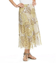 Alfred Dunner® Stretch Waistband Leaf Tiered Long Skirt