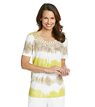 Alfred Dunner® Scoop Neckline With Embellishment Tie Dye Shirt