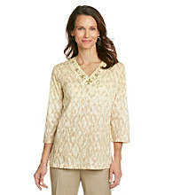 Alfred Dunner® Beaded Neckline Ombre Animal Print Shirt