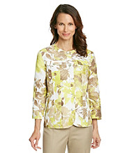 Alfred Dunner® Collarless Front Button Up Textured Floral Print Jacket