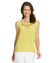 Alfred Dunner® Scoop Neckline With Beading Tape Yarn Sweater Tank