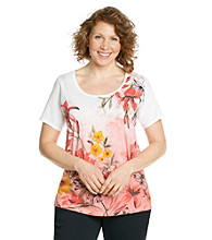 Relativity® Plus Size Pink Flower Scoopneck Graphic Tee