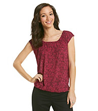 Relativity® Career Scoopneck Printed Banded Bottom Top