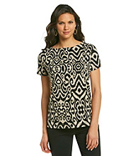 Jones New York Signature® Black And Tan Patterned Tee