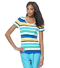 Jones New York Sport® Blue Multi Stripe Knit Tee