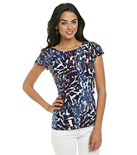 Anne Klein® Multi Animal Print Flutter Top