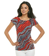 Anne Klein® River Stream Print Flutter Sleeeve Top