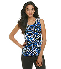 Anne Klein® Zebra Print Pleat Neck Top