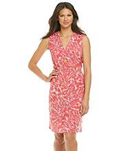 Anne Klein® Mosaic Tile Print V-Neck Dress