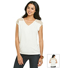 Vince Camuto® Back Lace Yoke V-Neck Top