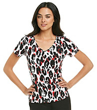 Laura Ashley® Petites' Studded Animal Print Tee
